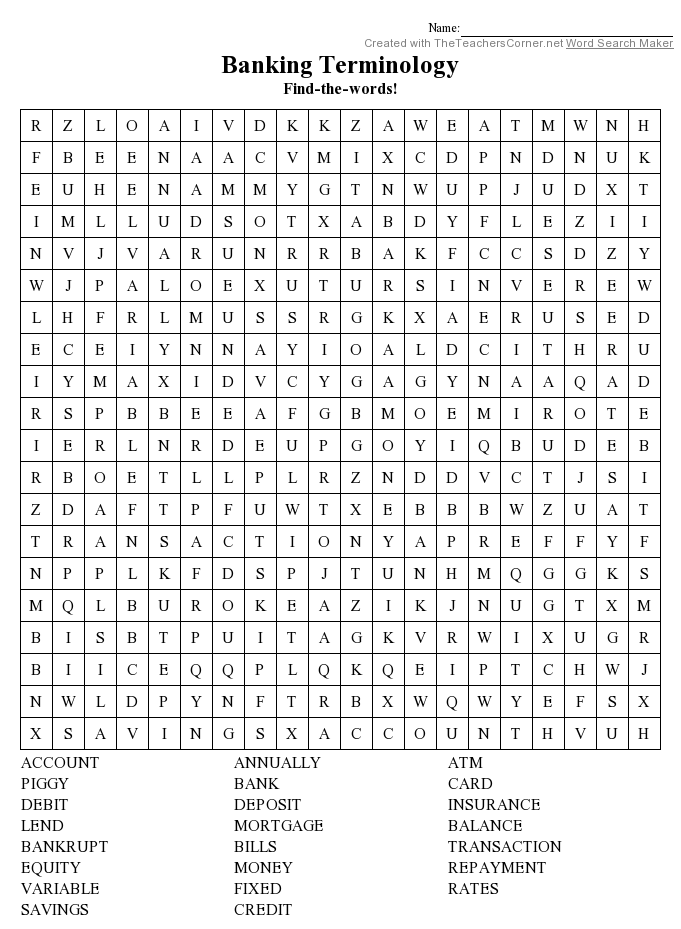 Banking Terms word search puzzle - Find these words in ...